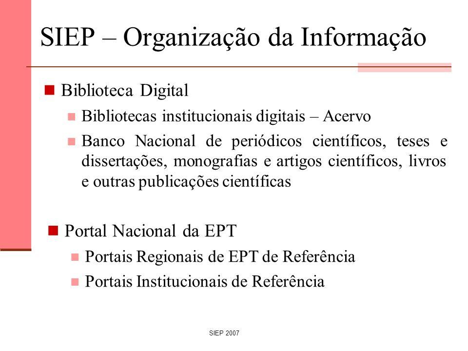 SIEP – Organização da Informação