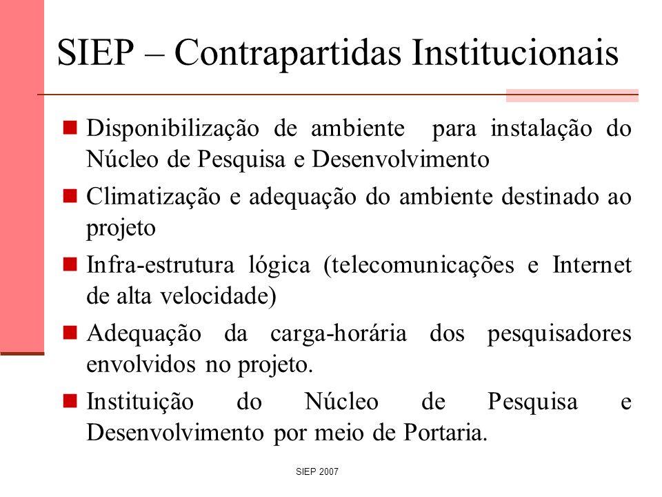 SIEP – Contrapartidas Institucionais