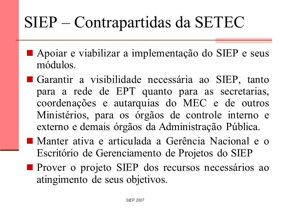 SIEP – Contrapartidas da SETEC