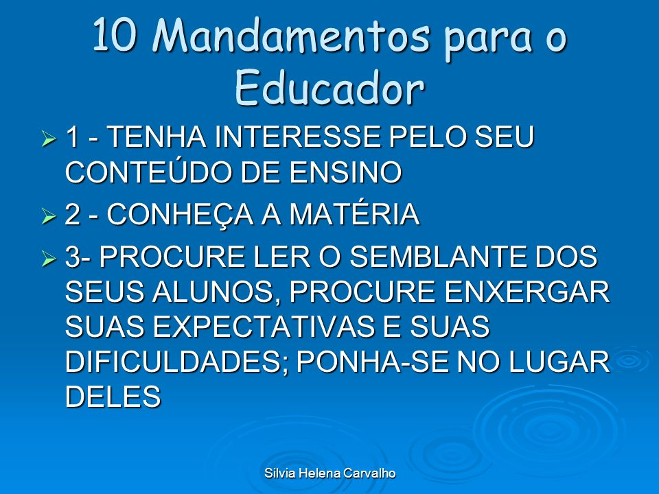 10 Mandamentos para o Educador