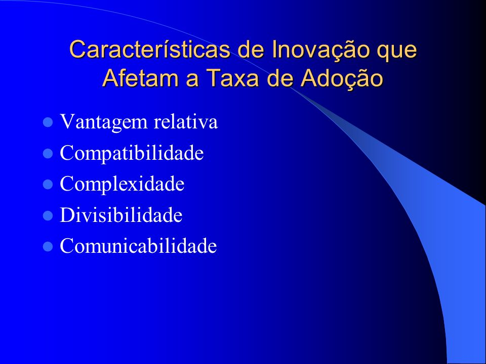Características de Inovação que Afetam a Taxa de Adoção