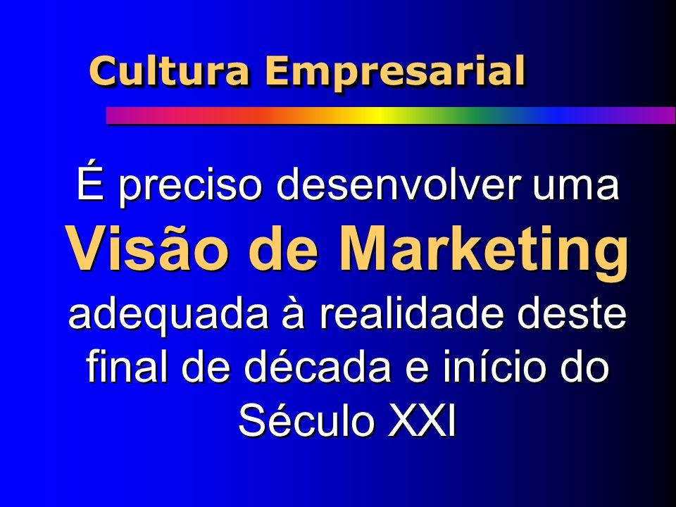 Cultura Empresarial É preciso desenvolver uma Visão de Marketing adequada à realidade deste final de década e início do Século XXI.
