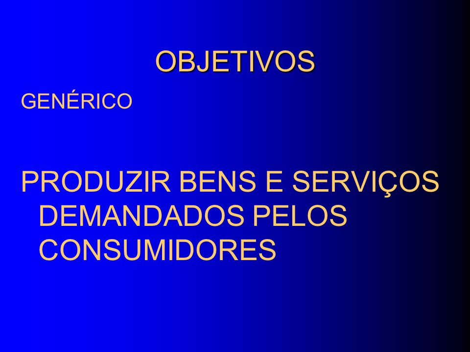 PRODUZIR BENS E SERVIÇOS DEMANDADOS PELOS CONSUMIDORES