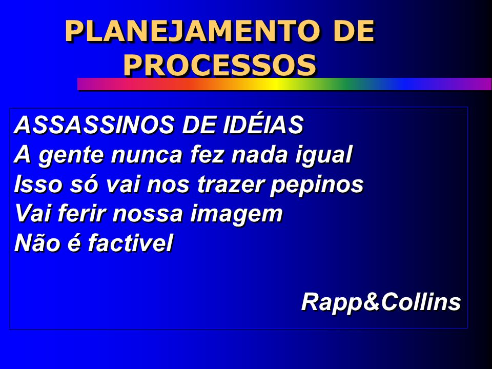 PLANEJAMENTO DE PROCESSOS