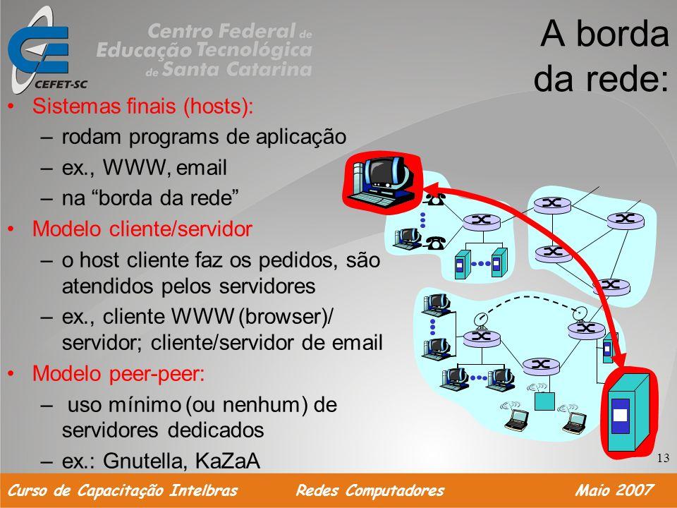 A borda da rede: Sistemas finais (hosts): rodam programs de aplicação