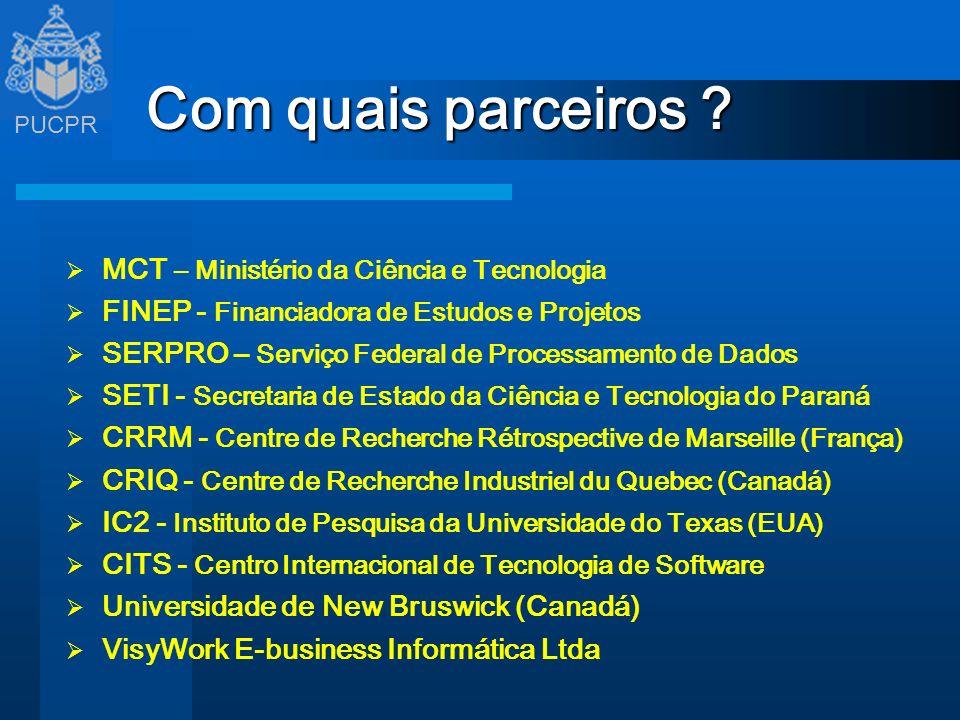 Com quais parceiros MCT – Ministério da Ciência e Tecnologia
