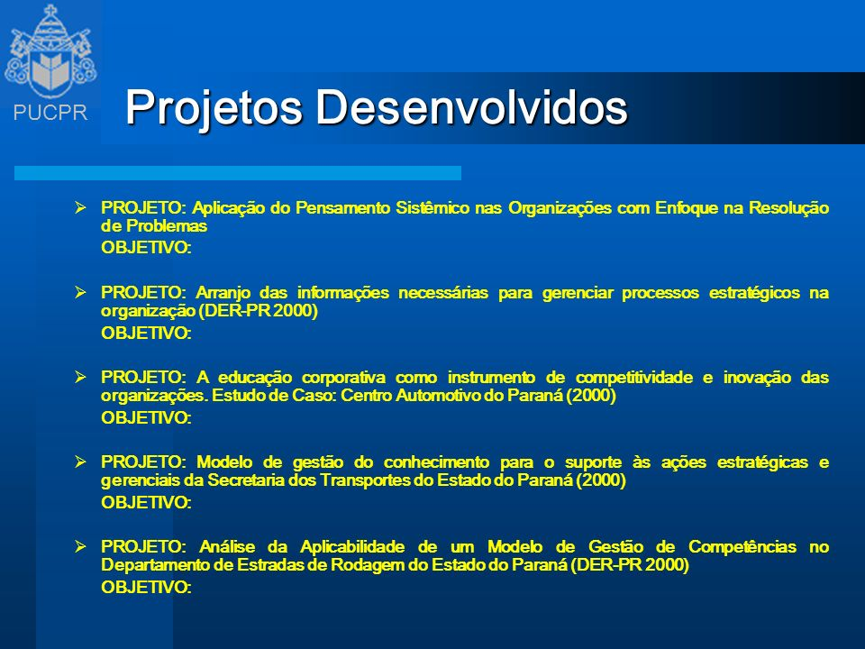 Projetos Desenvolvidos