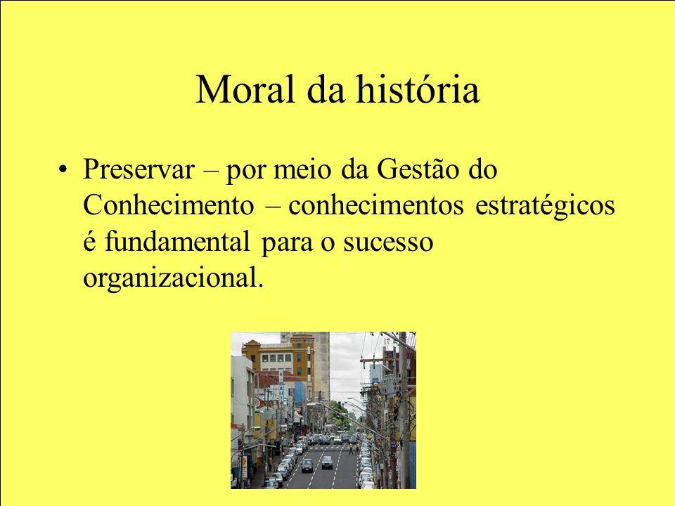 Moral da história Preservar – por meio da Gestão do Conhecimento – conhecimentos estratégicos é fundamental para o sucesso organizacional.