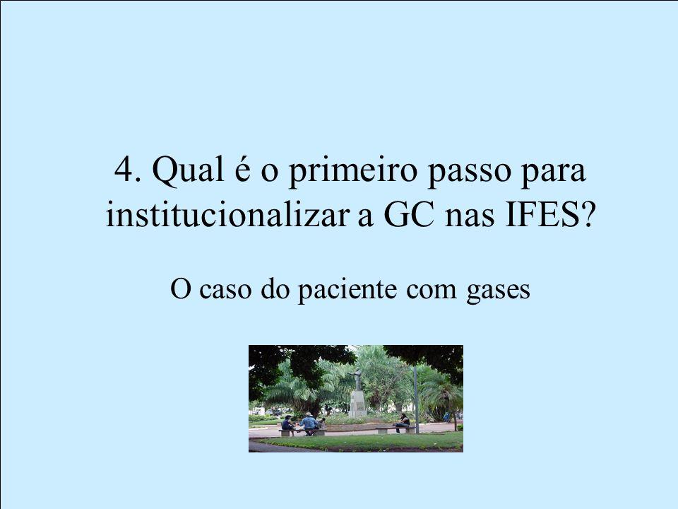 4. Qual é o primeiro passo para institucionalizar a GC nas IFES