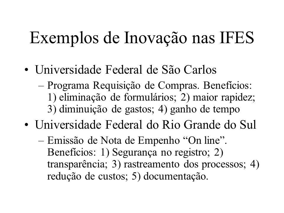 Exemplos de Inovação nas IFES