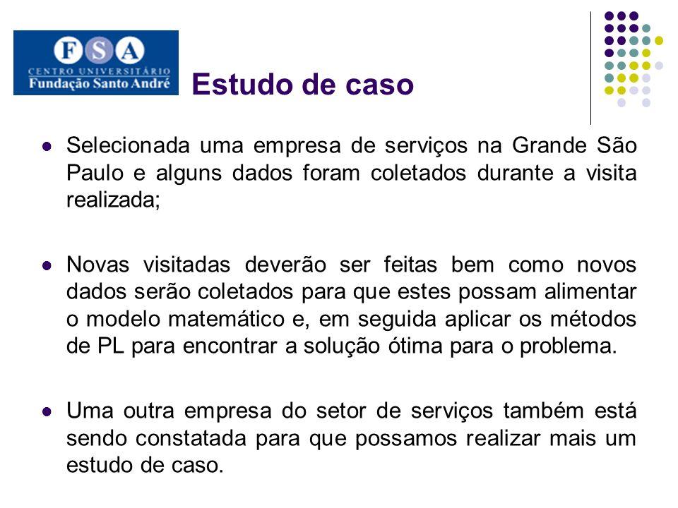 Estudo de caso Selecionada uma empresa de serviços na Grande São Paulo e alguns dados foram coletados durante a visita realizada;