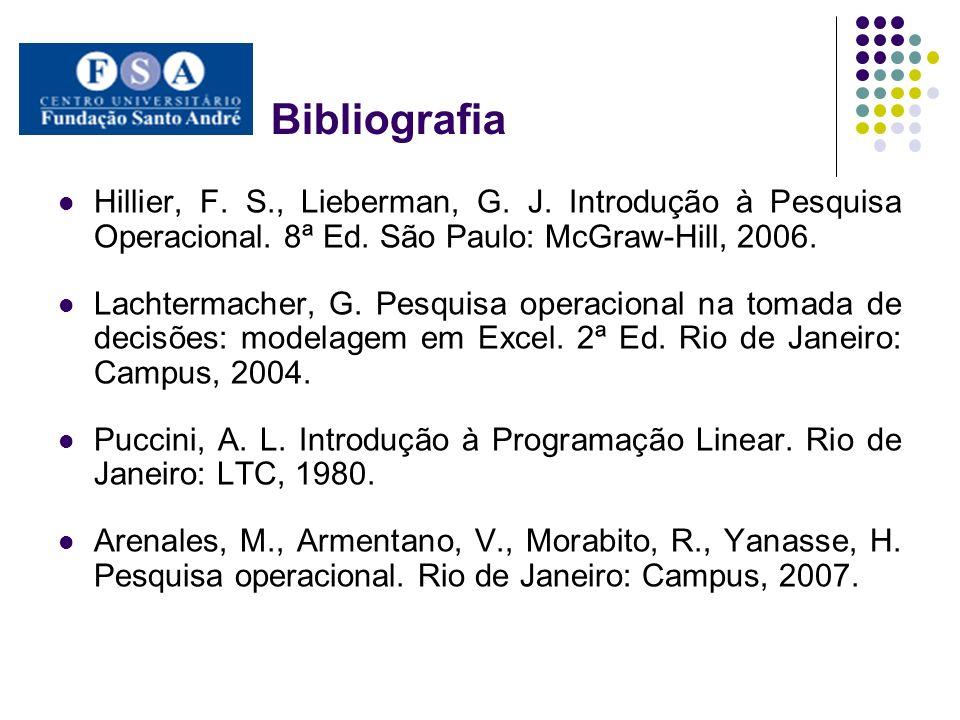 Bibliografia Hillier, F. S., Lieberman, G. J. Introdução à Pesquisa Operacional. 8ª Ed. São Paulo: McGraw-Hill, 2006.