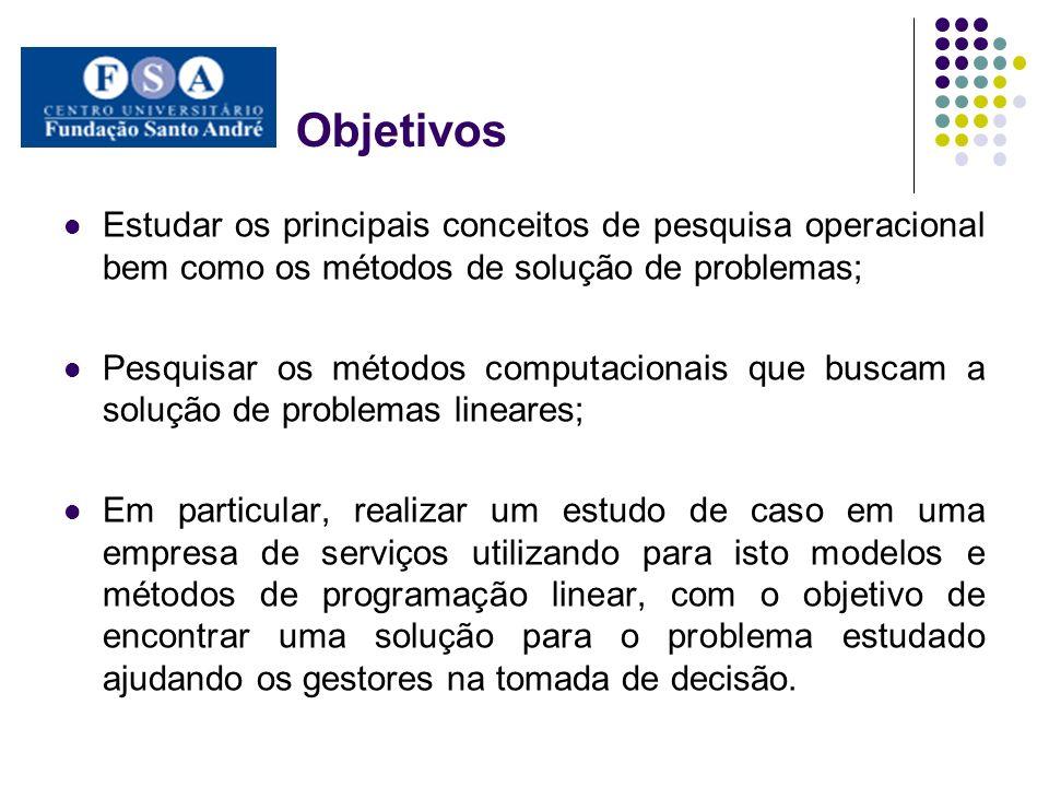 Objetivos Estudar os principais conceitos de pesquisa operacional bem como os métodos de solução de problemas;