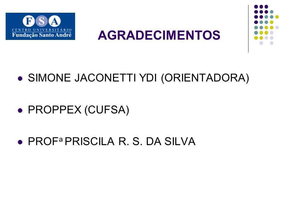 AGRADECIMENTOS SIMONE JACONETTI YDI (ORIENTADORA) PROPPEX (CUFSA)