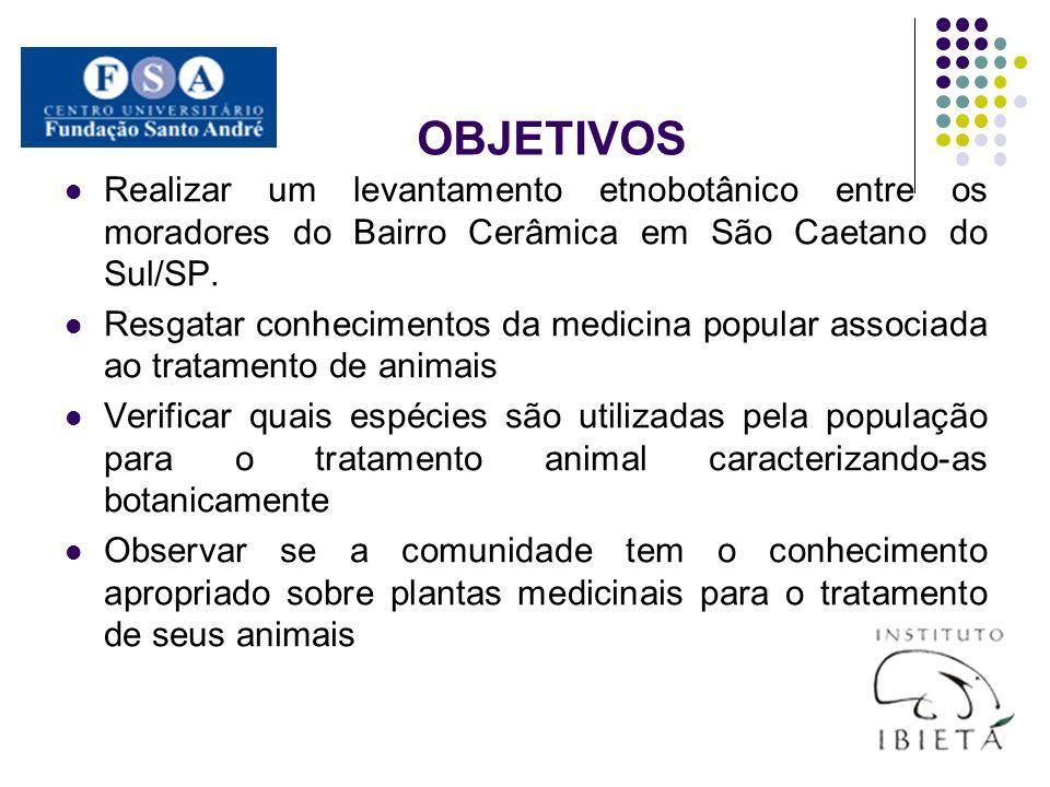 OBJETIVOS Realizar um levantamento etnobotânico entre os moradores do Bairro Cerâmica em São Caetano do Sul/SP.