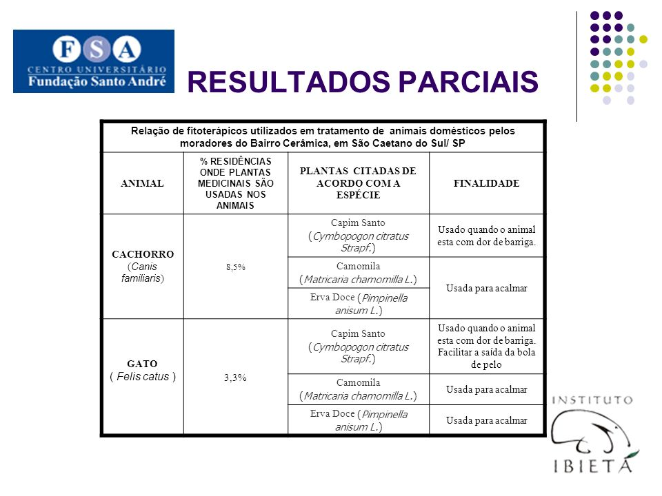 RESULTADOS PARCIAIS ( Felis catus )
