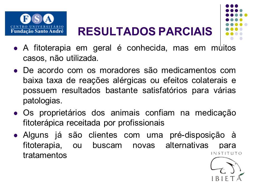 RESULTADOS PARCIAISA fitoterapia em geral é conhecida, mas em muitos casos, não utilizada.