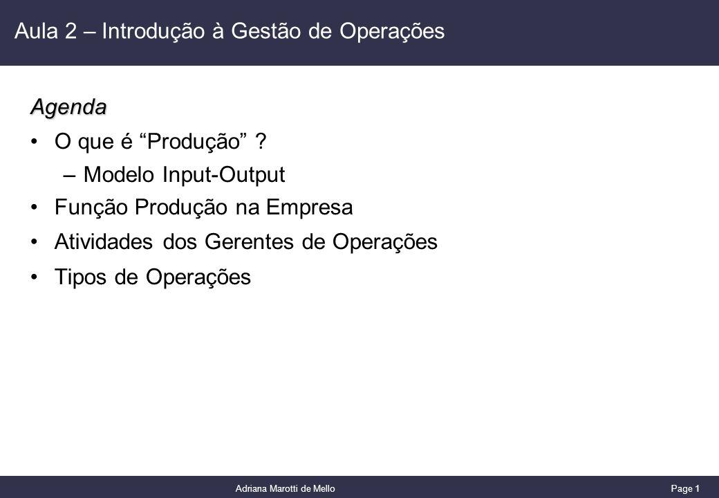 Aula 2 – Introdução à Gestão de Operações