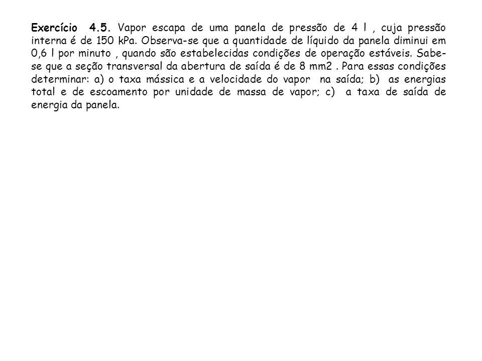 Exercício 4.5. Vapor escapa de uma panela de pressão de 4 l , cuja pressão interna é de 150 kPa.