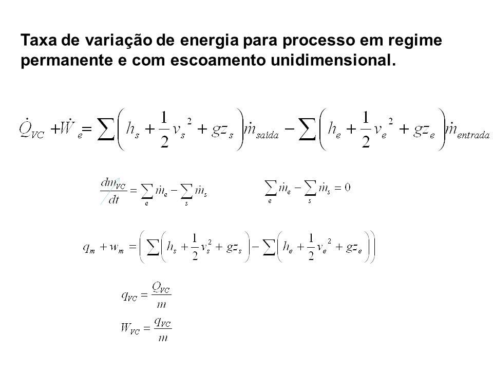 Taxa de variação de energia para processo em regime permanente e com escoamento unidimensional.