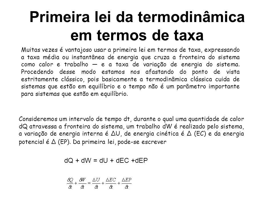Primeira lei da termodinâmica em termos de taxa