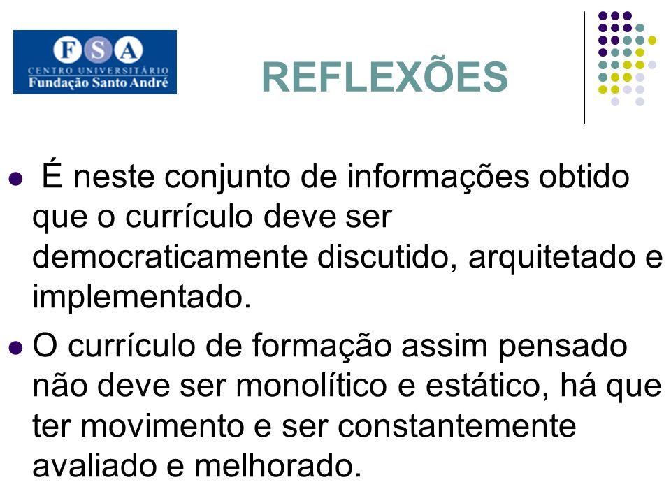 REFLEXÕES É neste conjunto de informações obtido que o currículo deve ser democraticamente discutido, arquitetado e implementado.