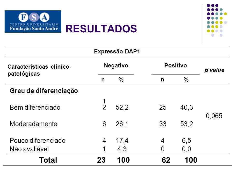 RESULTADOS Total 23 100 62 Grau de diferenciação 0,065