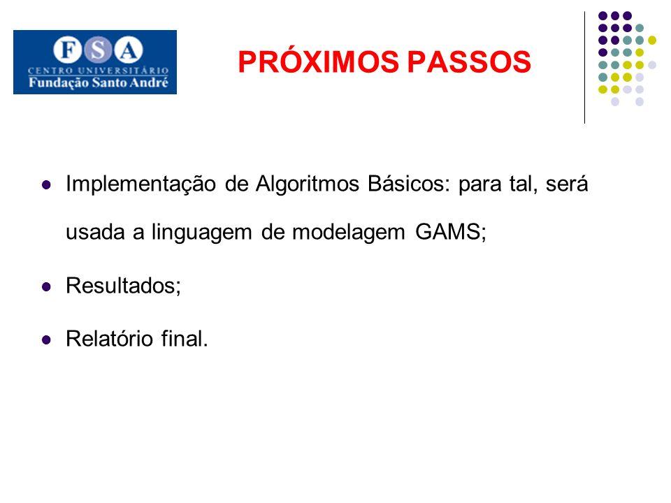 PRÓXIMOS PASSOS Implementação de Algoritmos Básicos: para tal, será usada a linguagem de modelagem GAMS;