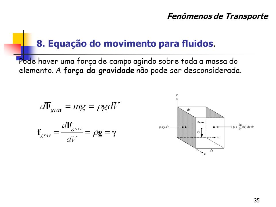 8. Equação do movimento para fluidos.