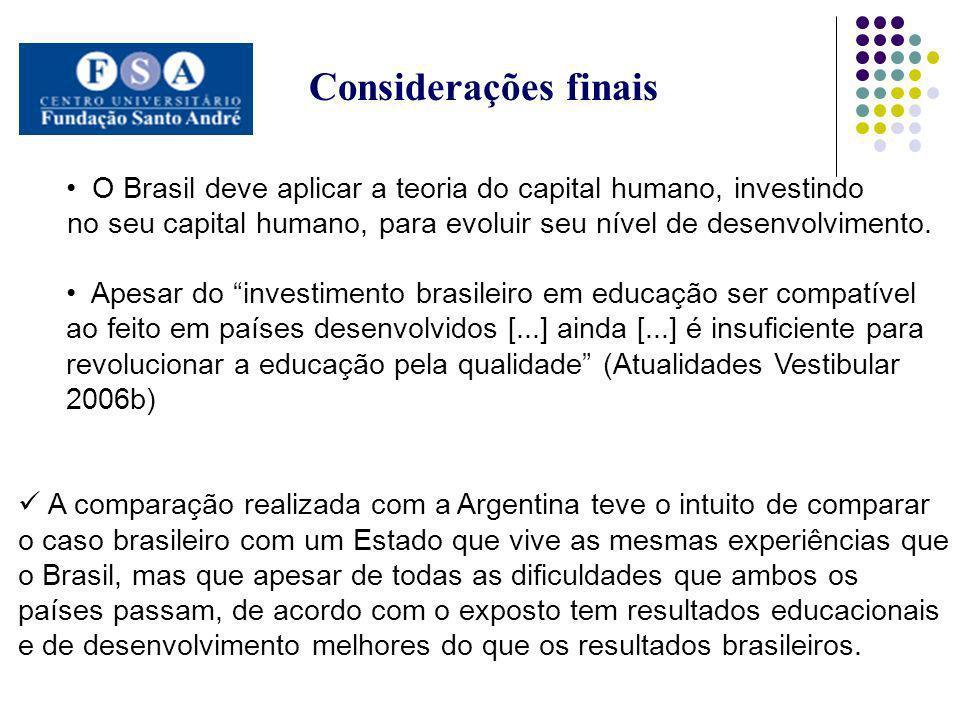 Considerações finais O Brasil deve aplicar a teoria do capital humano, investindo. no seu capital humano, para evoluir seu nível de desenvolvimento.