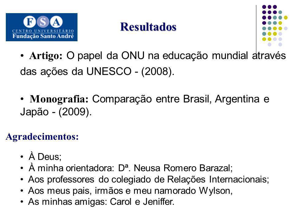 Resultados Artigo: O papel da ONU na educação mundial através das ações da UNESCO - (2008).