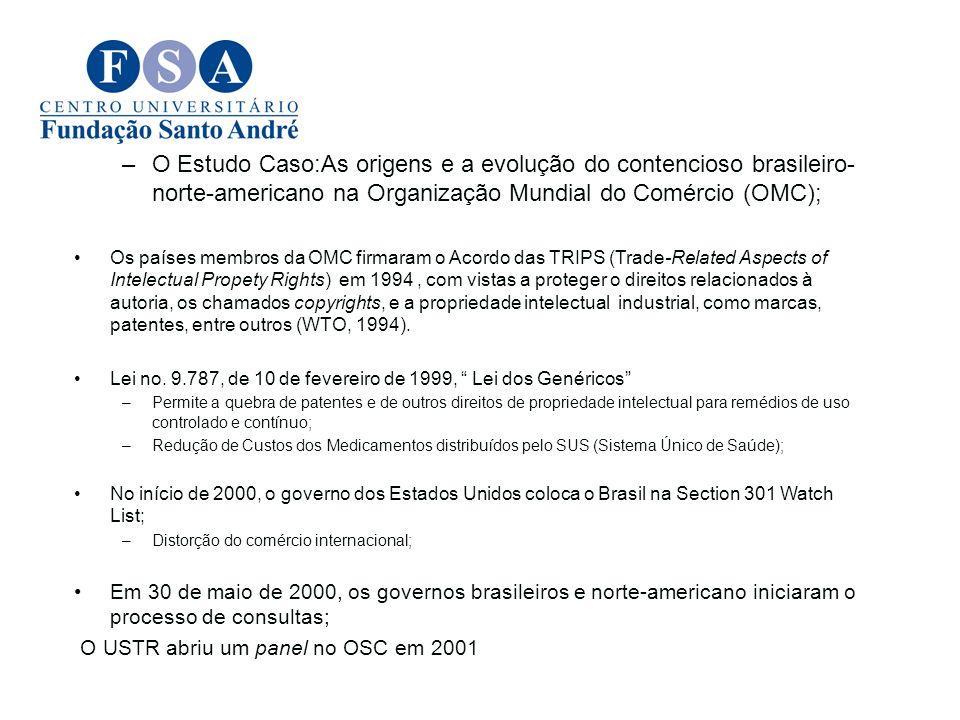 O Estudo Caso:As origens e a evolução do contencioso brasileiro-norte-americano na Organização Mundial do Comércio (OMC);