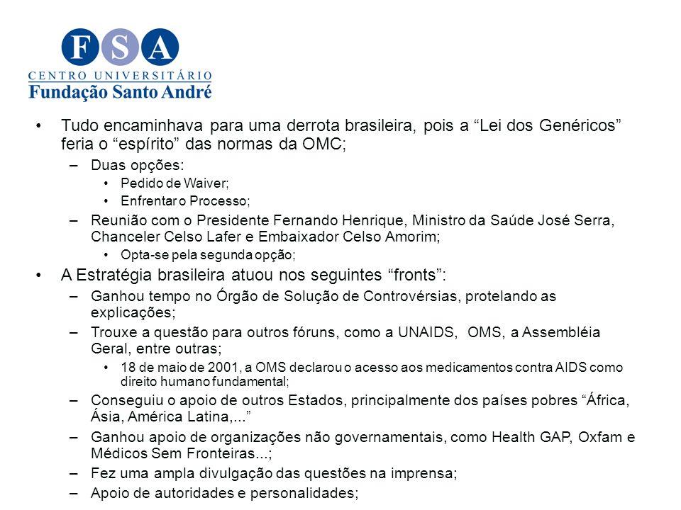 A Estratégia brasileira atuou nos seguintes fronts :