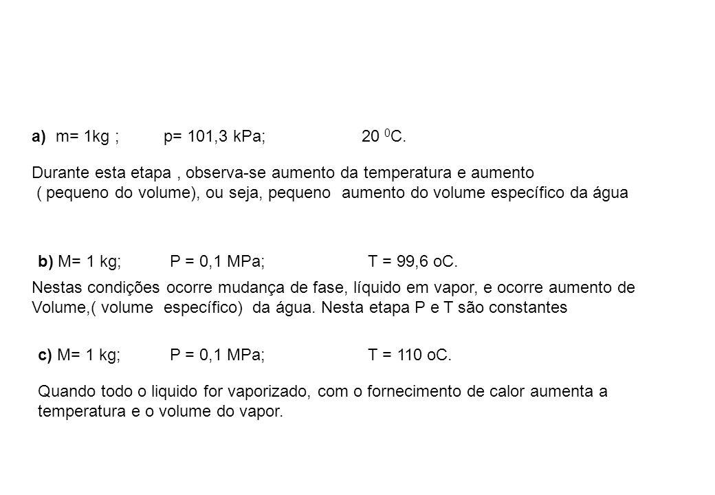 a) m= 1kg ; p= 101,3 kPa; 20 0C.Durante esta etapa , observa-se aumento da temperatura e aumento.