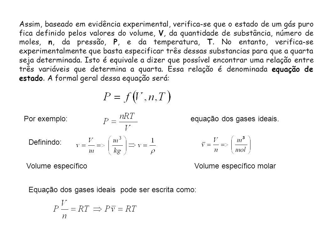 Assim, baseado em evidência experimental, verifica-se que o estado de um gás puro fica definido pelos valores do volume, V, da quantidade de substância, número de moles, n, da pressão, P, e da temperatura, T. No entanto, verifica-se experimentalmente que basta especificar três dessas substancias para que a quarta seja determinada. Isto é equivale a dizer que possível encontrar uma relação entre três variáveis que determina a quarta. Essa relação é denominada equação de estado. A formal geral dessa equação será: