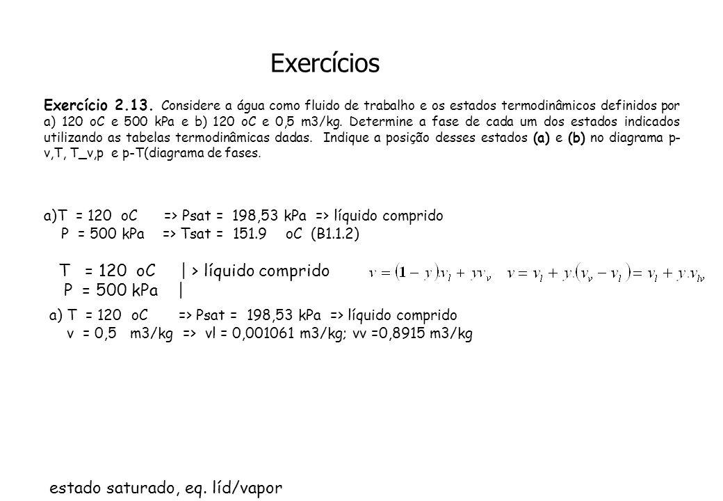 Exercícios T = 120 oC | > líquido comprido P = 500 kPa |