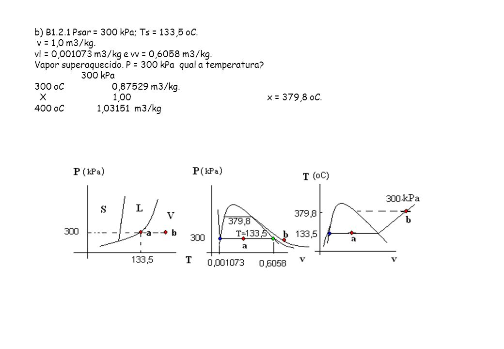 b) B1.2.1 Psar = 300 kPa; Ts = 133,5 oC. v = 1,0 m3/kg. vl = 0,001073 m3/kg e vv = 0,6058 m3/kg.