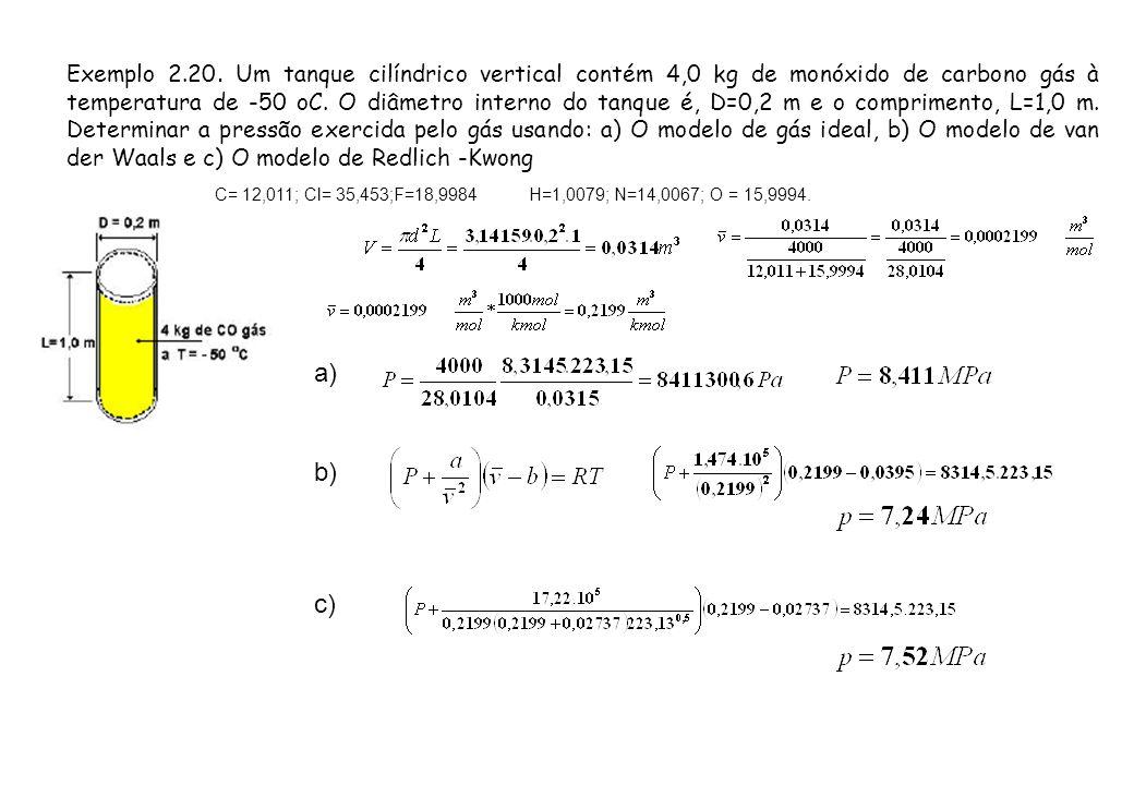 Exemplo 2.20. Um tanque cilíndrico vertical contém 4,0 kg de monóxido de carbono gás à temperatura de -50 oC. O diâmetro interno do tanque é, D=0,2 m e o comprimento, L=1,0 m. Determinar a pressão exercida pelo gás usando: a) O modelo de gás ideal, b) O modelo de van der Waals e c) O modelo de Redlich -Kwong