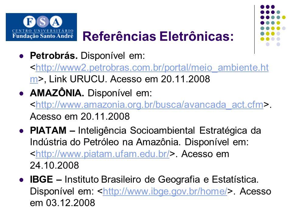 Referências Eletrônicas: