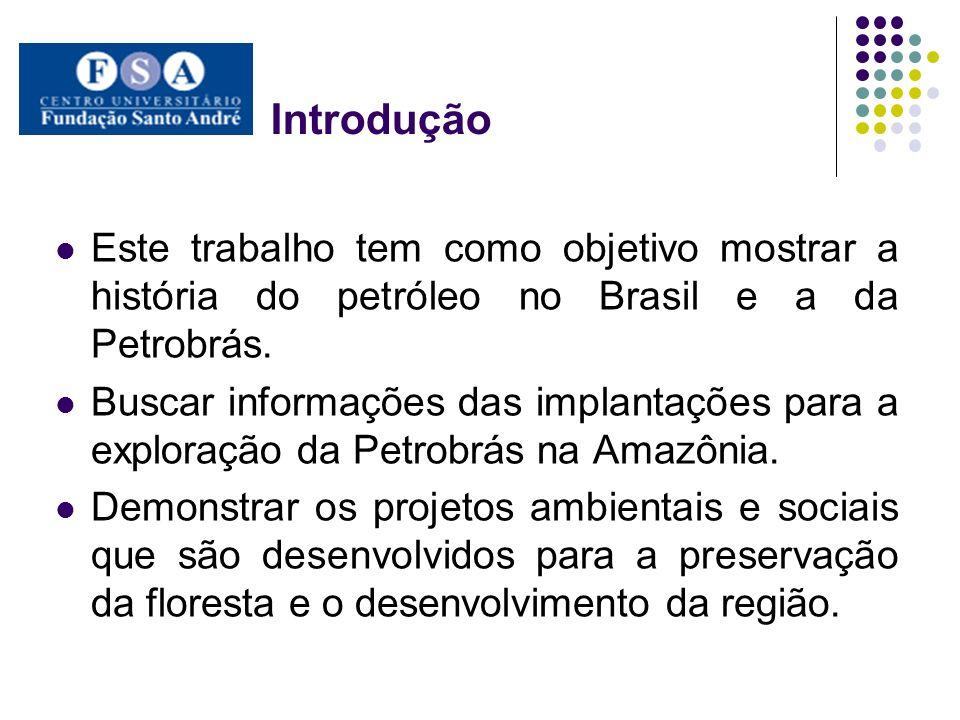 IntroduçãoEste trabalho tem como objetivo mostrar a história do petróleo no Brasil e a da Petrobrás.