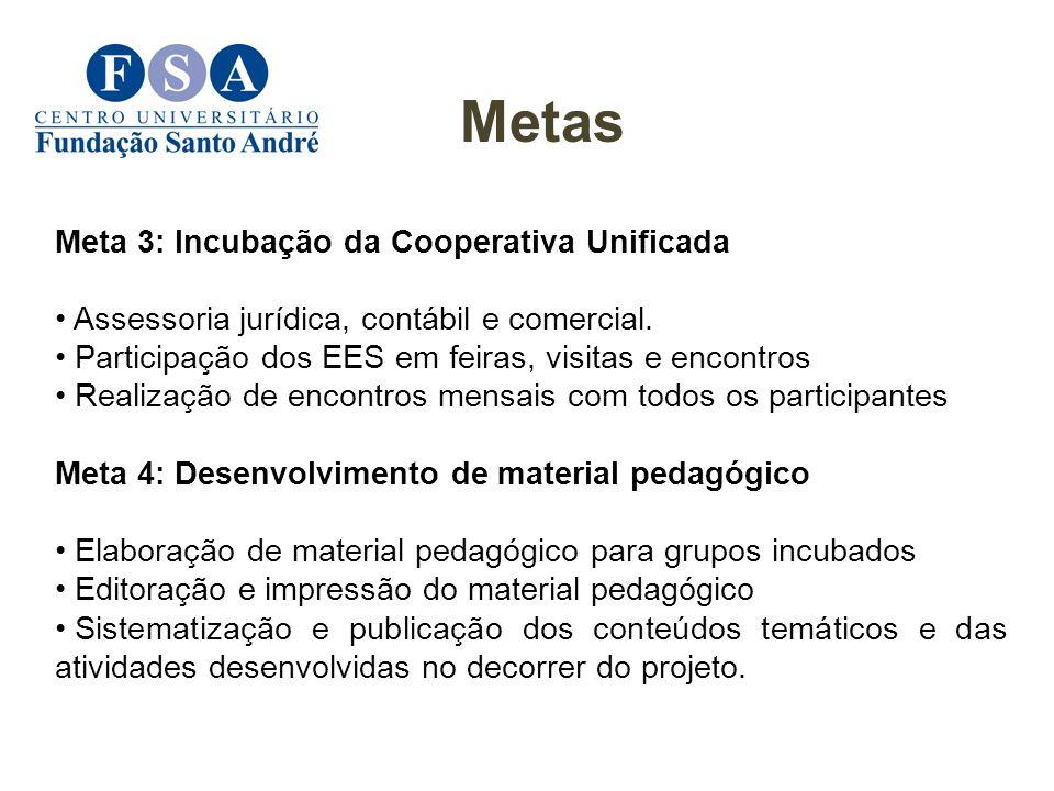Metas Meta 3: Incubação da Cooperativa Unificada