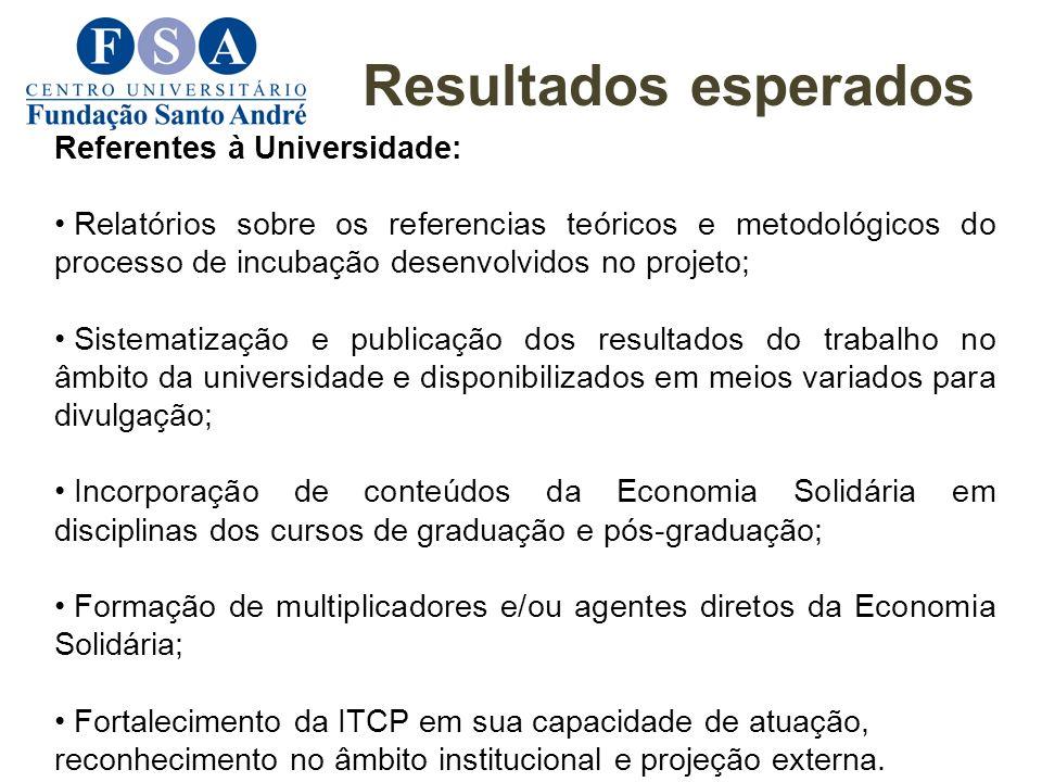 Resultados esperados Referentes à Universidade: