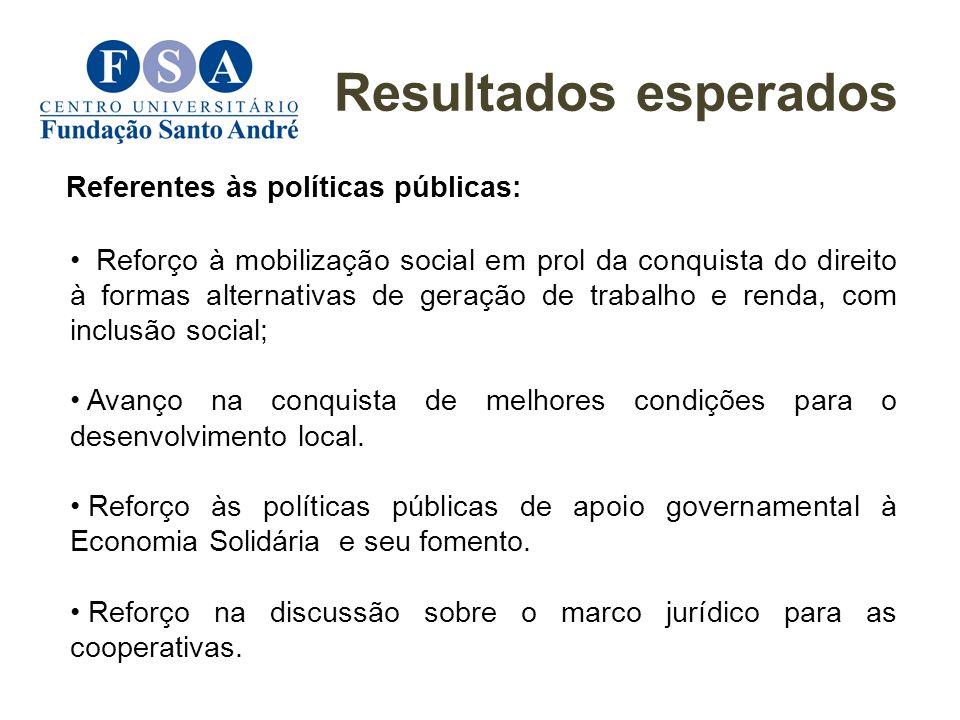 Resultados esperados Referentes às políticas públicas: