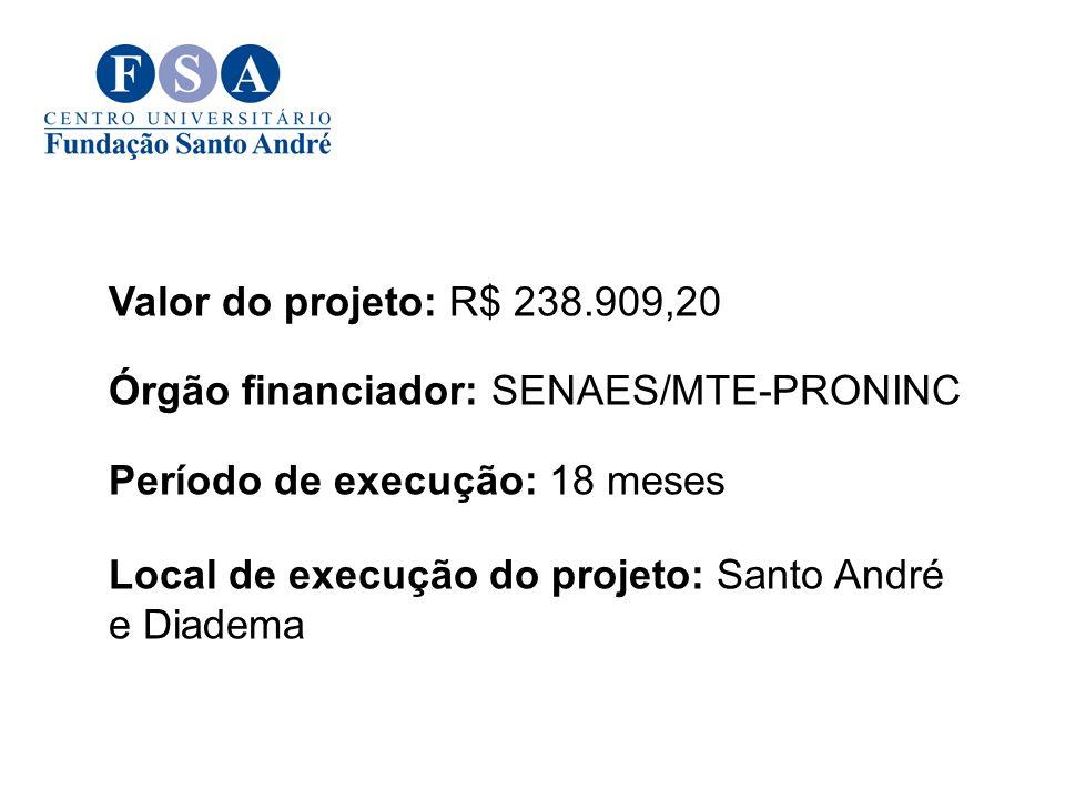 Valor do projeto: R$ 238.909,20 Órgão financiador: SENAES/MTE-PRONINC. Período de execução: 18 meses.