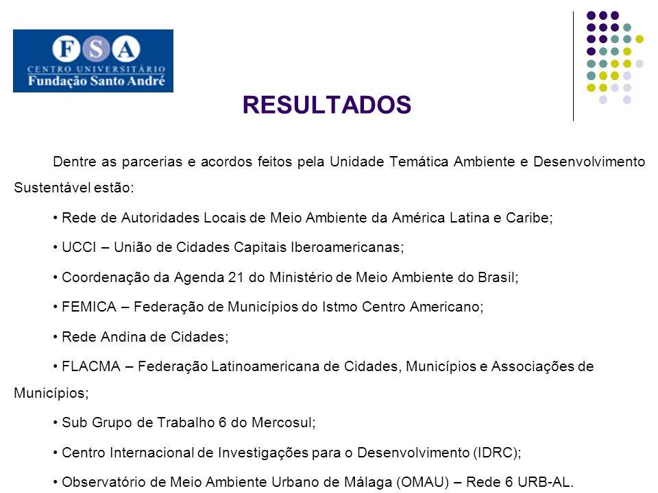 resultados Dentre as parcerias e acordos feitos pela Unidade Temática Ambiente e Desenvolvimento Sustentável estão: