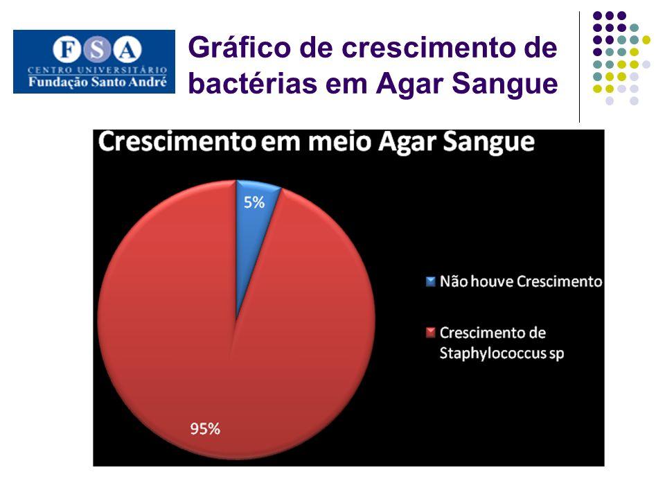 Gráfico de crescimento de bactérias em Agar Sangue
