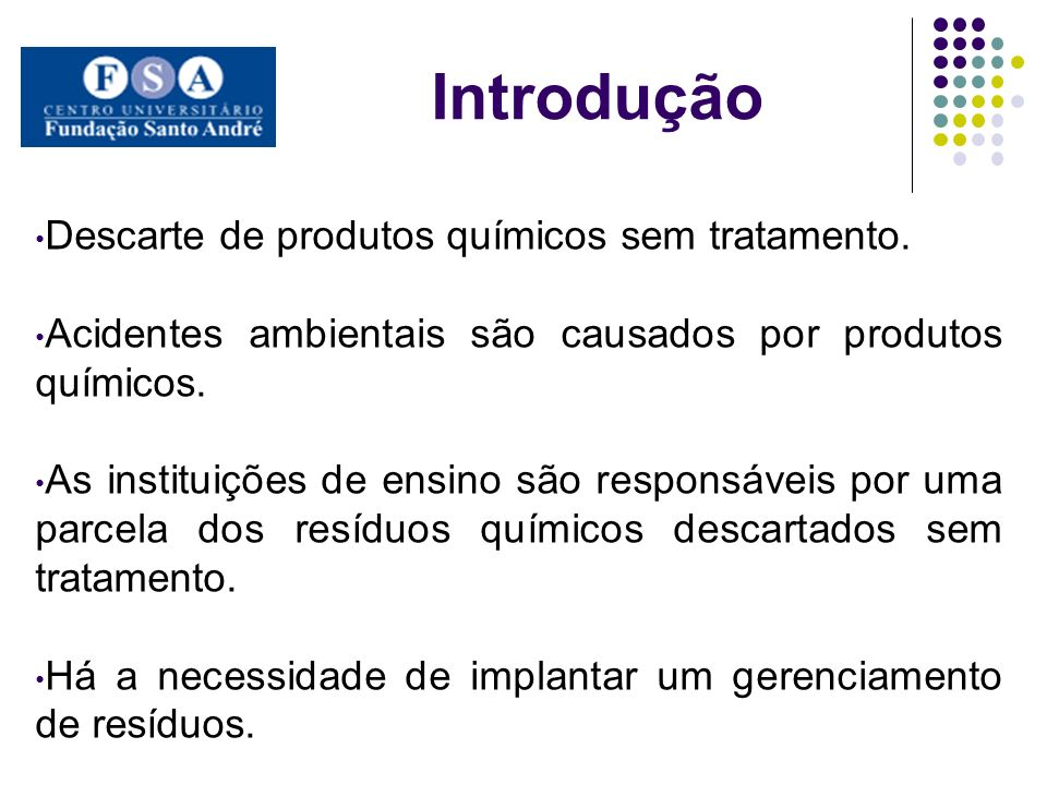 Introdução Descarte de produtos químicos sem tratamento.