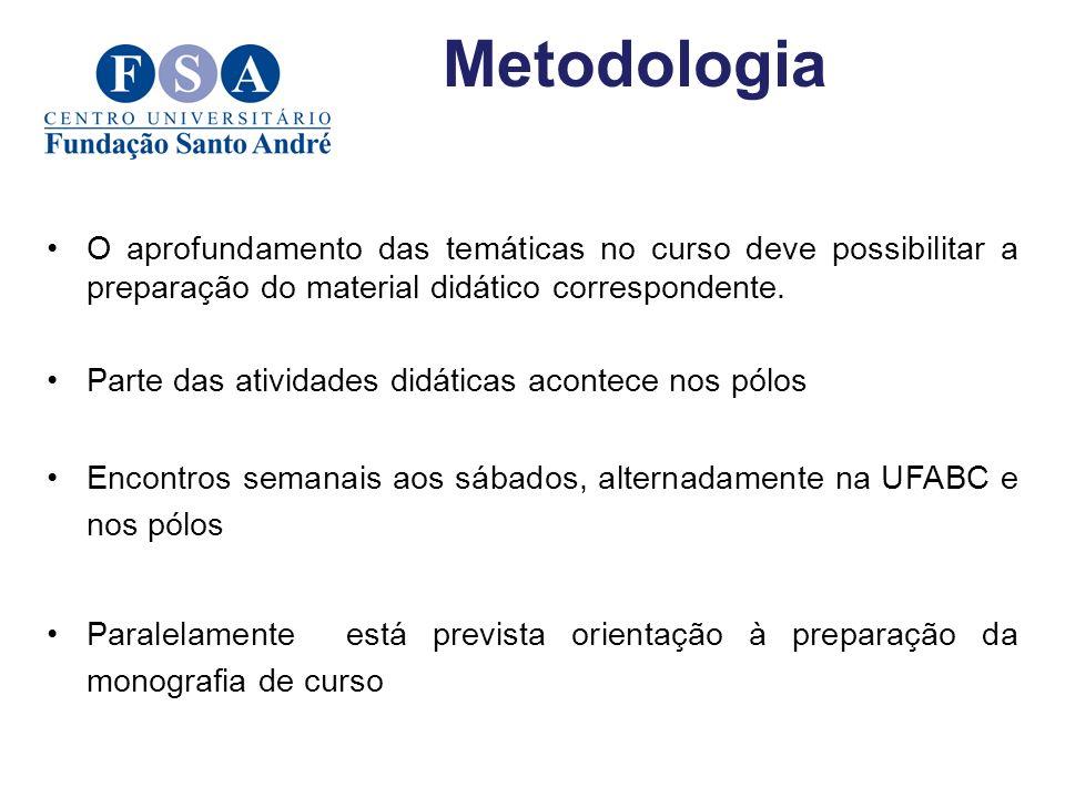 Metodologia O aprofundamento das temáticas no curso deve possibilitar a preparação do material didático correspondente.