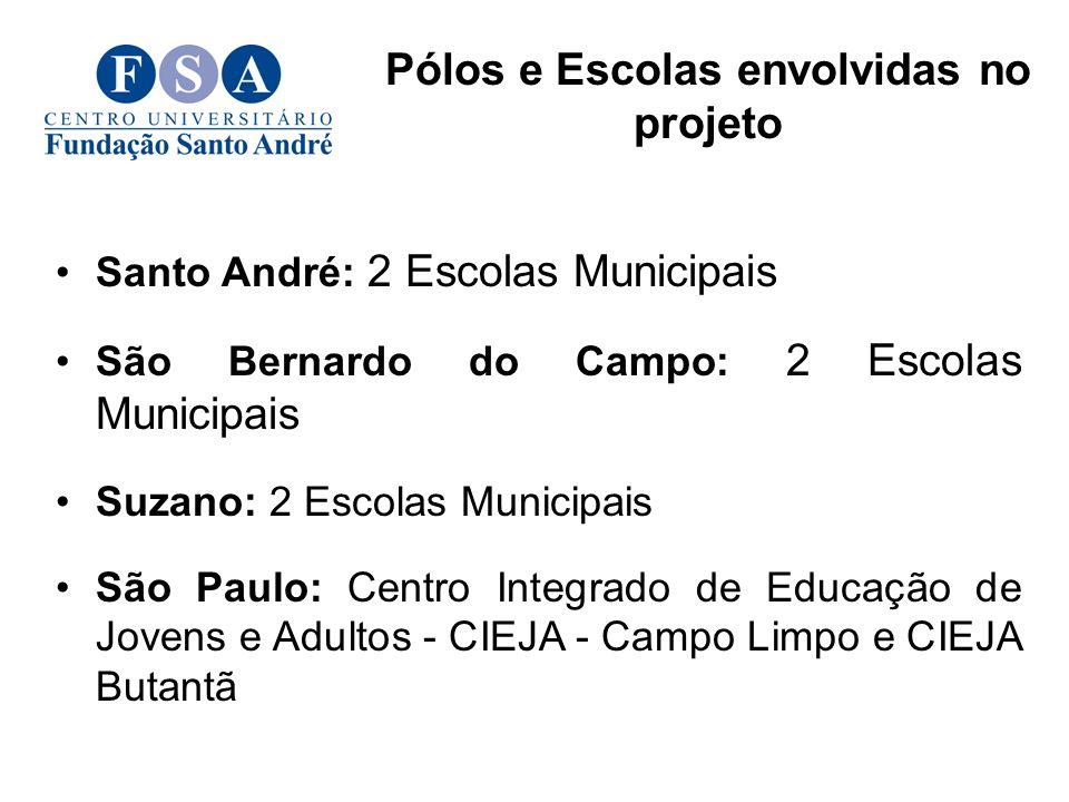 Pólos e Escolas envolvidas no projeto