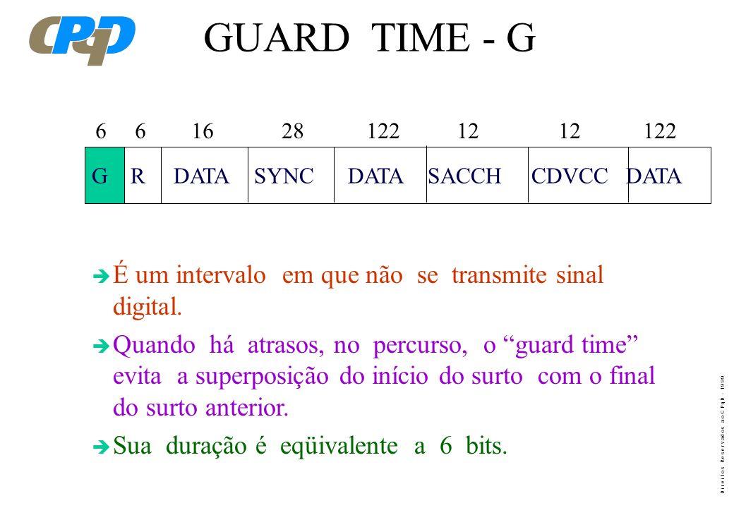 GUARD TIME - G É um intervalo em que não se transmite sinal digital.